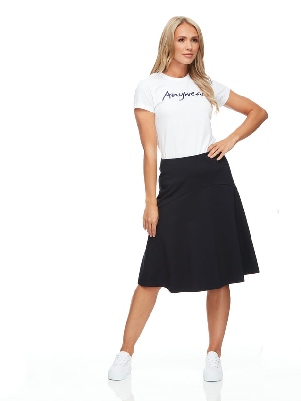 bizwear anywear chloe womens fit & flare skirt navy