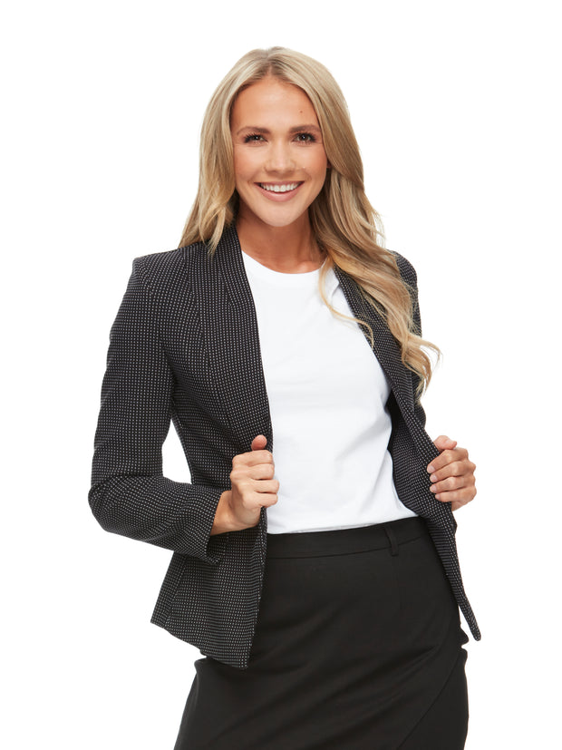 bizwear anywear evie textured fleck jacket womens black