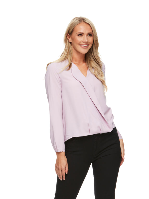 bizwear anywear grace hi lo blouse womens amethyst