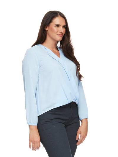 bizwear anywear grace hi lo blouse womens ice blue