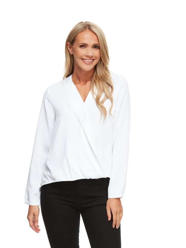bizwear anywear grace hi lo blouse womens white
