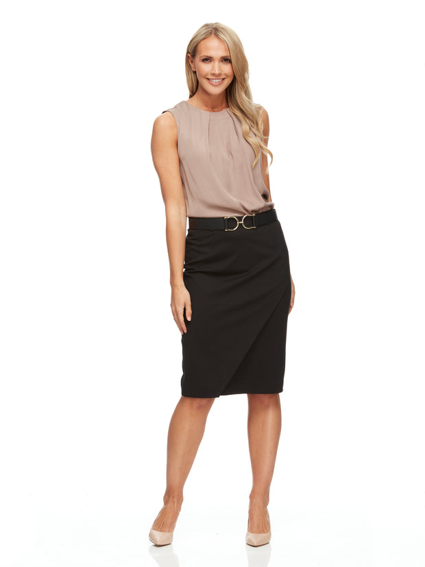 bizwear anywear jacquie womens mock crossover skirt black styled for work
