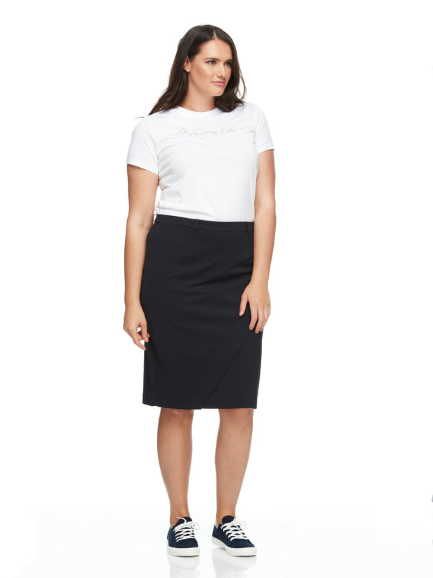 bizwear anywear jacquie womens mock crossover skirt navy
