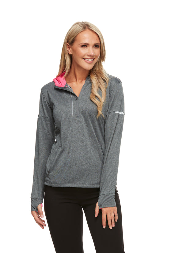 bizwear anywear jay lightweight athleisure hoodie top womens grey fluoro pink