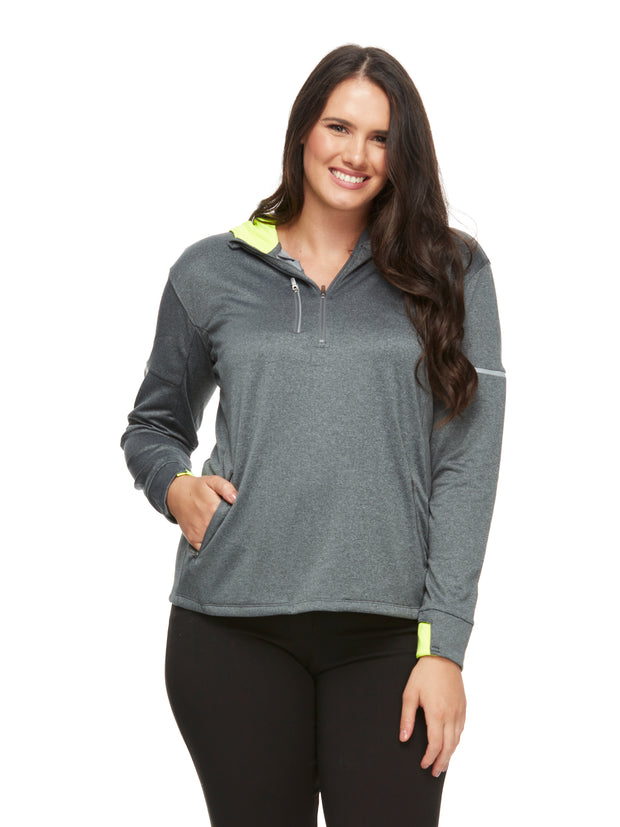 bizwear anywear jay lightweight athleisure hoodie top womens grey fluoro yellow