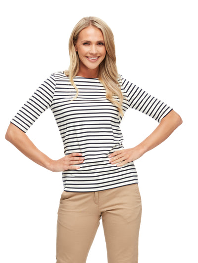 bizwear anywear jodi stripe top womens navy ivory
