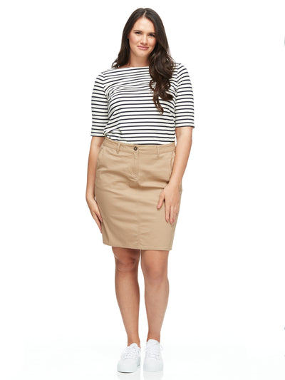 bizwear anywear libby womens chino skirt stone