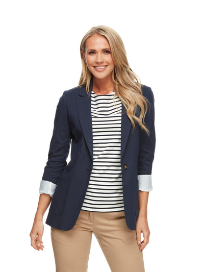 bizwear anywear liz linen look jacket womens navy