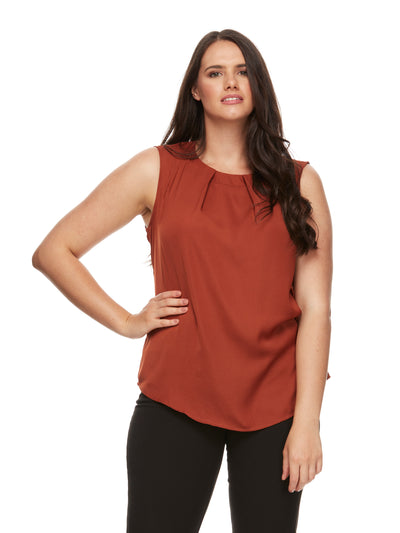 bizwear anywear tammy sleeveless pleat blouse womens auburn