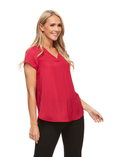 bizwear anywear tessa pleat blouse womens raspberry