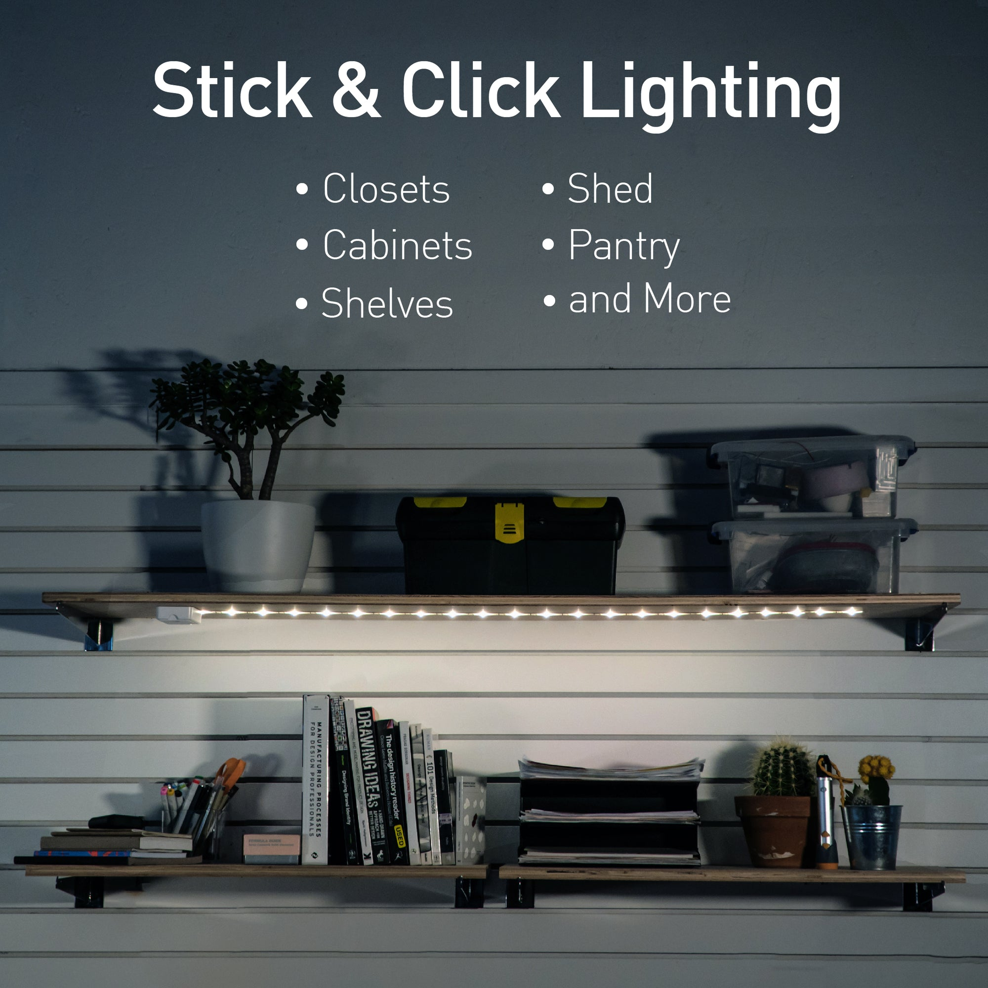 2 x STICK N CLICK LED SELF ADHESIVE LIGHT BATTERY OPERATED PUSH ON OFF LIGHTS