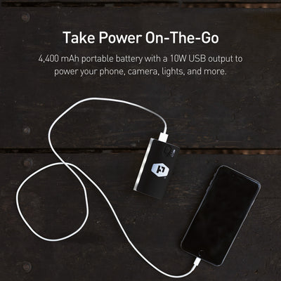 Lithium 4400 is a 4,400 mAh portable battery with 10W USB output to power you phone, camera, lights, and more.