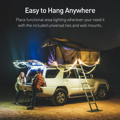 Easy to Hang Anywhere: Place functional area lighting wherever you need it with the included universal ties and wall mounts.