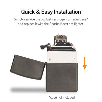 Sparkr Insert installs quickly and easily into your classic Zippo® lighter case