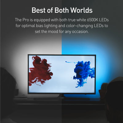 Luminoodle Professional TV Bias Lighting has both 6500K true white LEDs and color changing LEDs.
