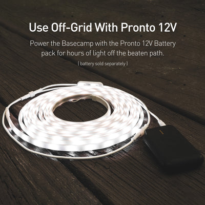 Use Off-Grid With Pronto 12V: Power the Basecamp with the Pronto 12V battery pack for hours of usable light off the beaten path (battery sold separately).