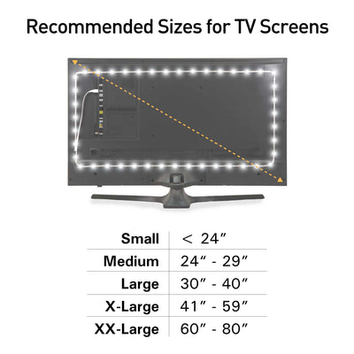 Luminoodle White Bias Lighting Size Chart