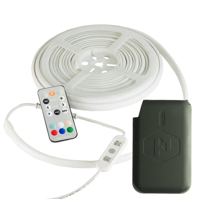Luminoodle Basecamp 20 foot waterproof light string with Pronto 12V Battery Pack