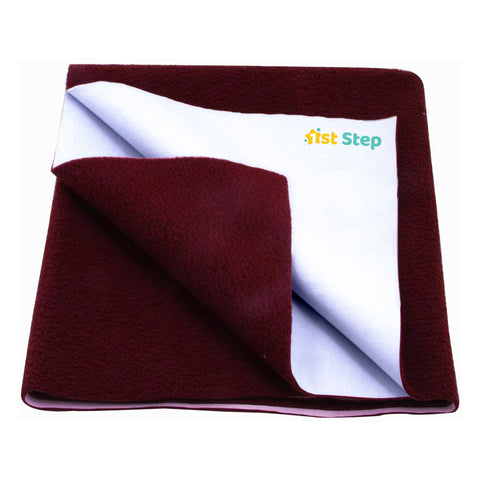 1st Step Supa - Dry Extra Absorbent Dry Sheet/Bed Protector/Mattress Protector (Maroon, Medium (100 * 70 cm))