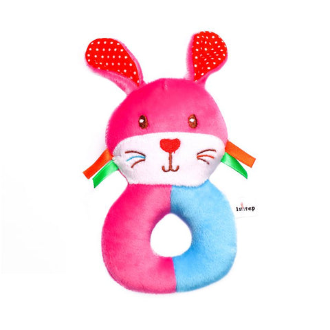 1st Step Rabbit Face Soft Plush Ring Rattle Cum Toy