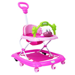 1st Step Walker With Push Handle And 4 Level Height Adjustment -Pink