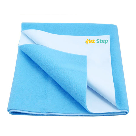 1st Step Supa - Dry Extra Absorbent Dry Sheet/Bed Protector/Mattress Protector (Light Blue, Large(100 * 140 cm))