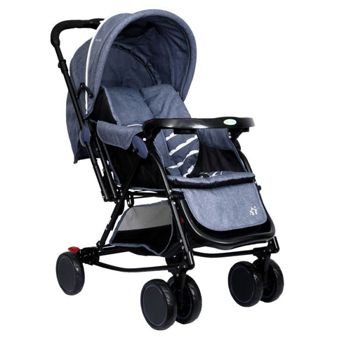 1st Step Cloudie Baby Pram Cum Rocker 2 in 1 Rocking Baby Stroller and Pram-Grey