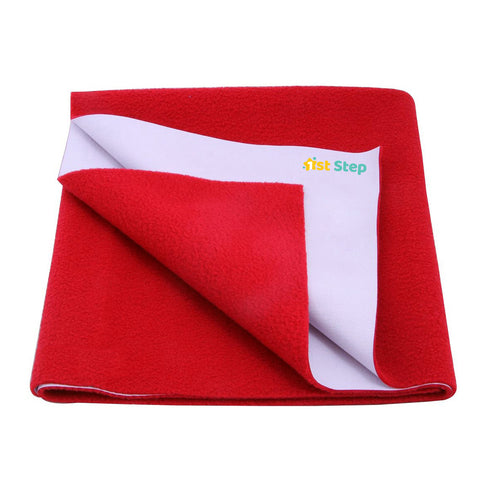 1st Step Supa - Dry Extra Absorbent Dry Sheet/Bed Protector/Mattress Protector (Red, Medium (100 * 70 cm))