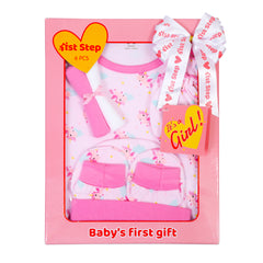 1st Step New Born Baby Gift Set Pack of 6 (Bodysuit, 2 Wash Cloths, A Pair of Booties, A Pair of Mittons and A Hat)