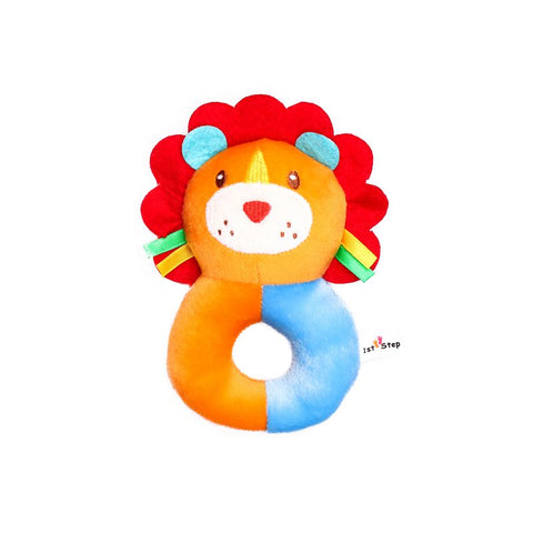 1st Step Lion Face Soft Plush Ring Rattle Cum Toy