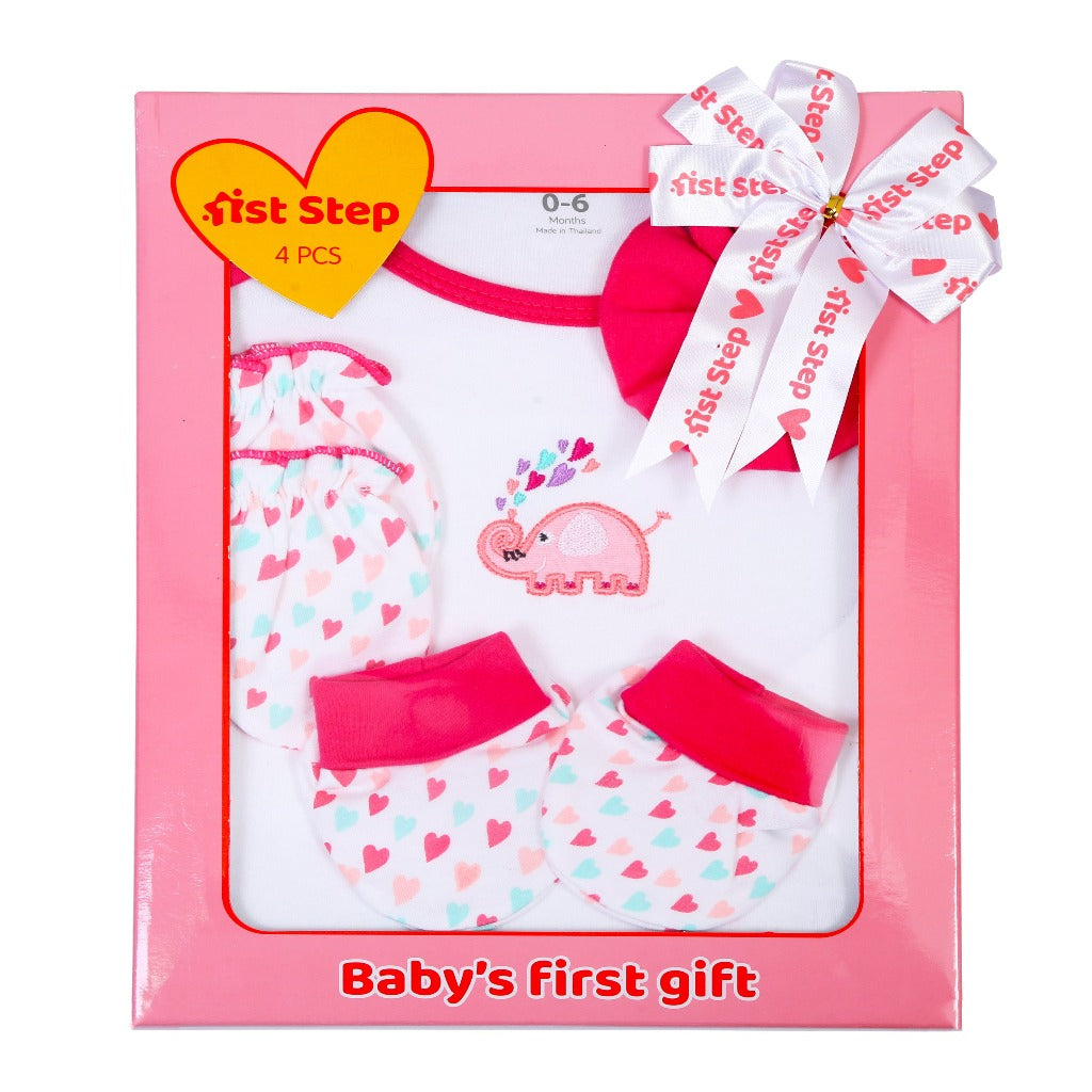 1st Step New Born Baby Gift Set Pack of 4 (Bodysuit, Wash Cloth, A Pair of Booties, A Pair of Mittons)