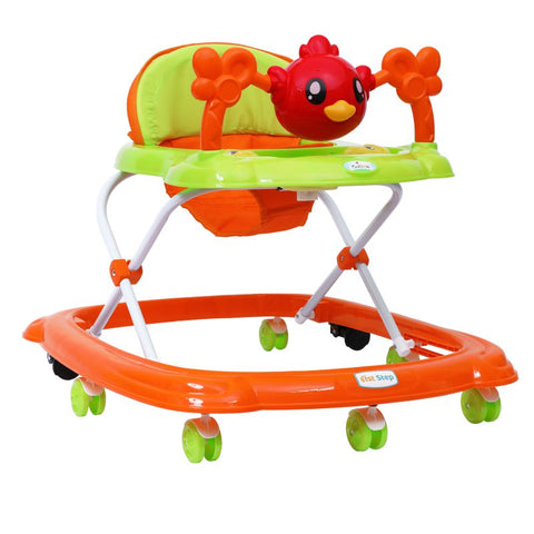 1st Step Walker With 4 Level Height Adjustment And Musical Play Tray - Orange