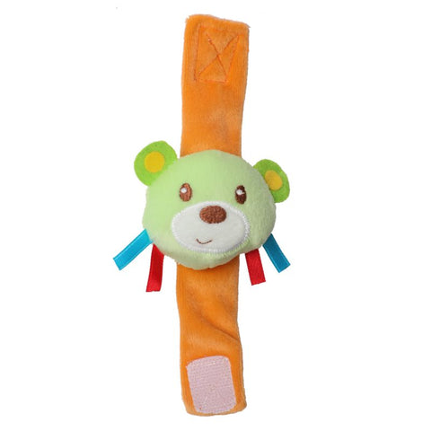 1st Step Dog Face Soft Plush Wrist Rattle Cum Toy