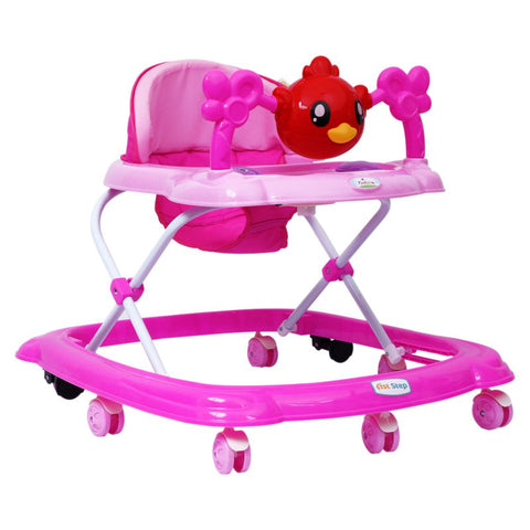 1st Step Walker With 4 Level Height Adjustment And Musical Play Tray - Pink