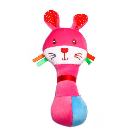 1st Step Rabbit Face Soft Plush Shaking Rattle  Cum Toy