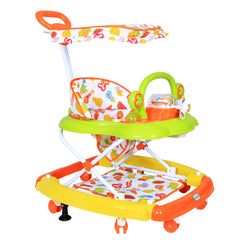 1st Step Walker Cum Rocker with Canopy, Push Handle and 3 Level Height Adjustment-Orange