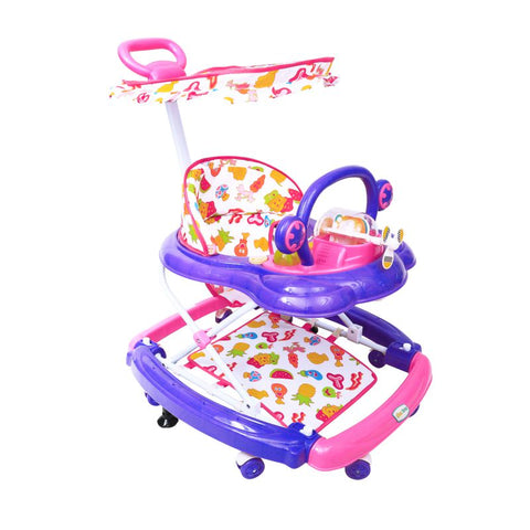1st Step Walker Cum Rocker with Canopy, Push Handle and 3 Level Height Adjustment-Pink