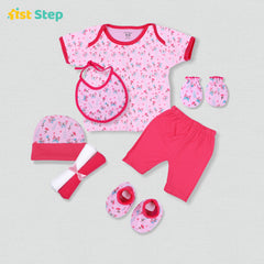 1st Step New Born Baby Gift Set Pack of 8 (T-Shirt, Short Pant, 2 Pcs of Wash Cloths, Bonnet, Bib, A Pair of Botties and A Pair of Mittons)