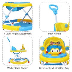 1st Step Walker Cum Rocker With Push Handle And 4 Level Height Adjustment -Blue