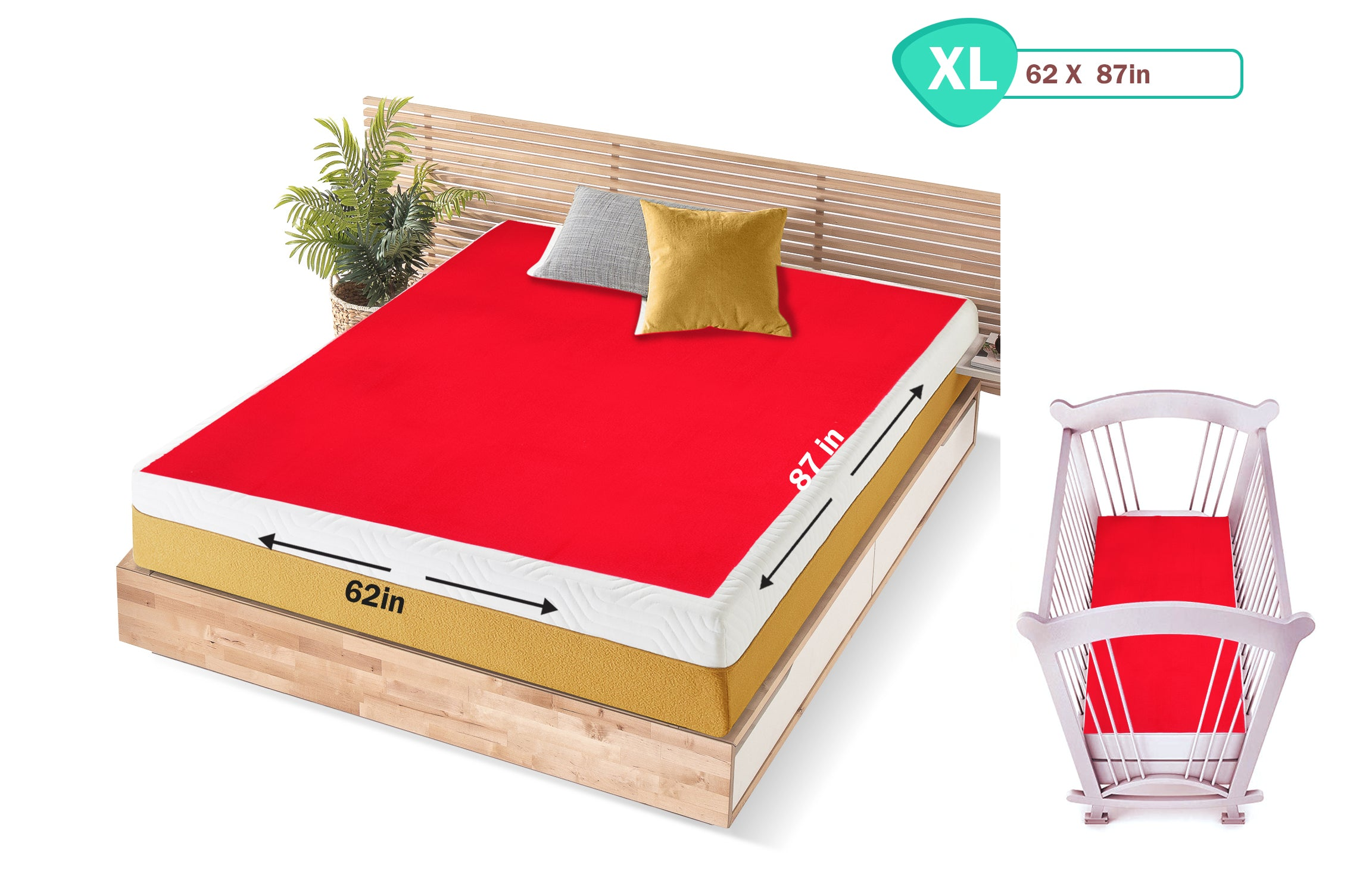 1st Step Supa - Dry Extra Absorbent Dry Sheet/Bed Protector/Mattress Protector (Red, Extra Large (157 * 220 cm))