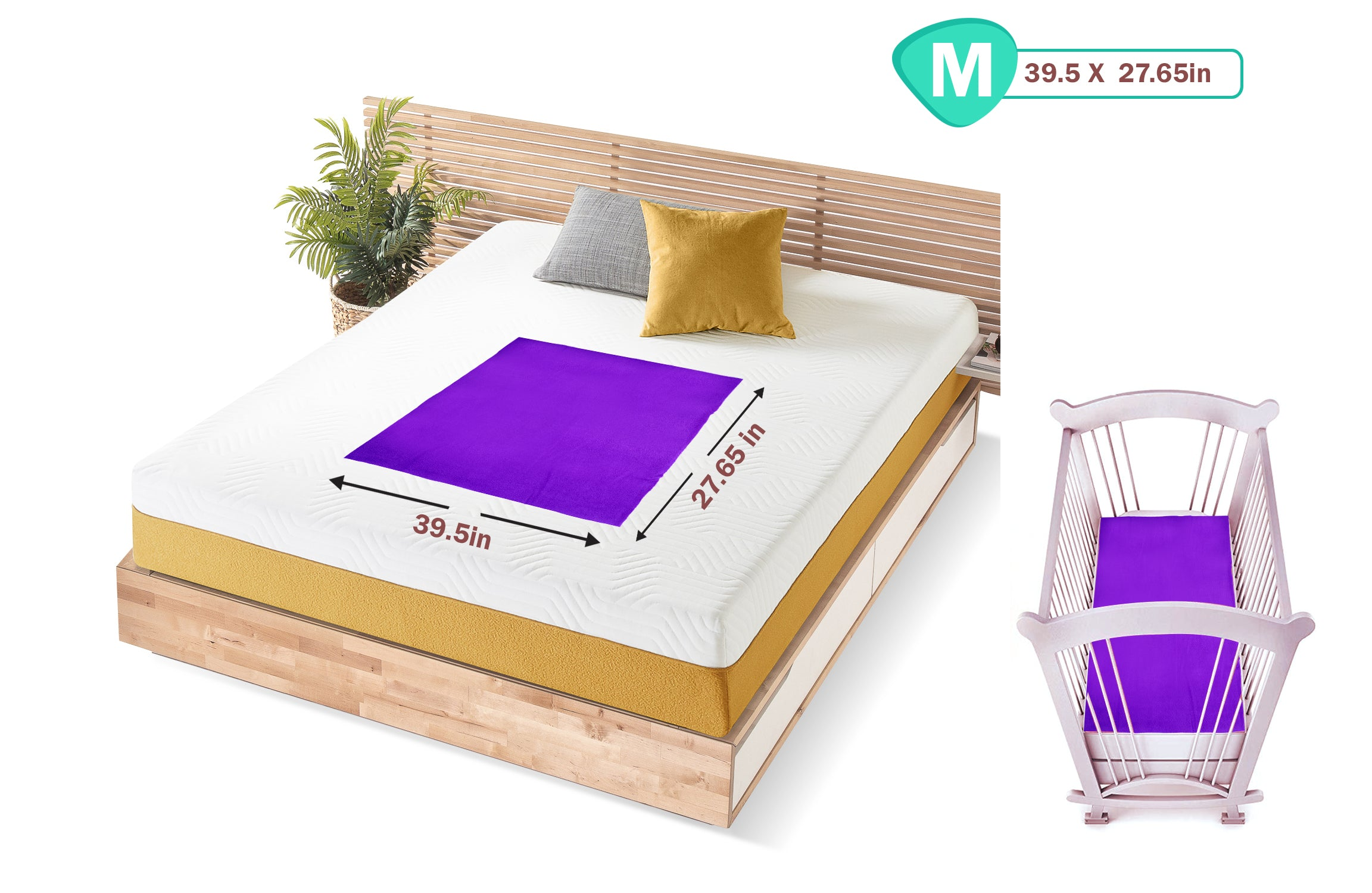 1st Step Supa - Dry Extra Absorbent Dry Sheet/Bed Protector/Mattress Protector (Purple, Medium (100 * 70 cm))
