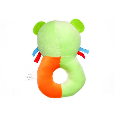 1st Step Dog Face Soft Plush Ring Rattle Cum Toy