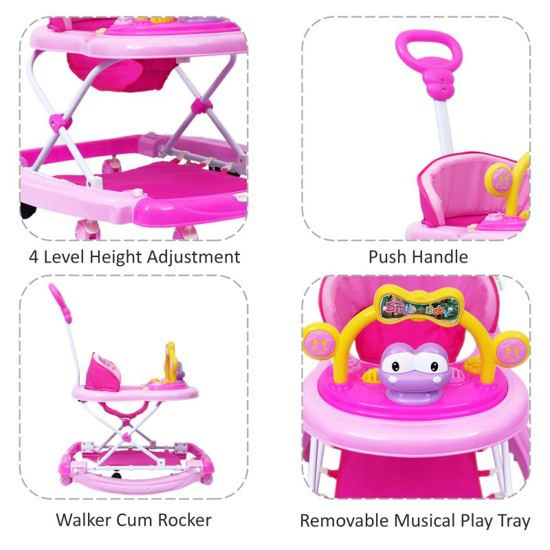 1st Step Walker Cum Rocker With Push Handle And 4 Level Height Adjustment -Pink