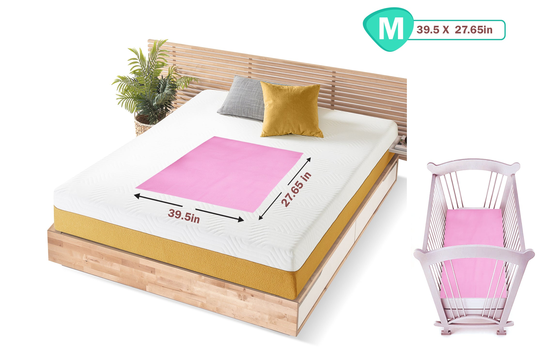 1st Step Supa - Dry Extra Absorbent Dry Sheet/Bed Protector/Mattress Protector (Pink, Medium (100 * 70 cm))