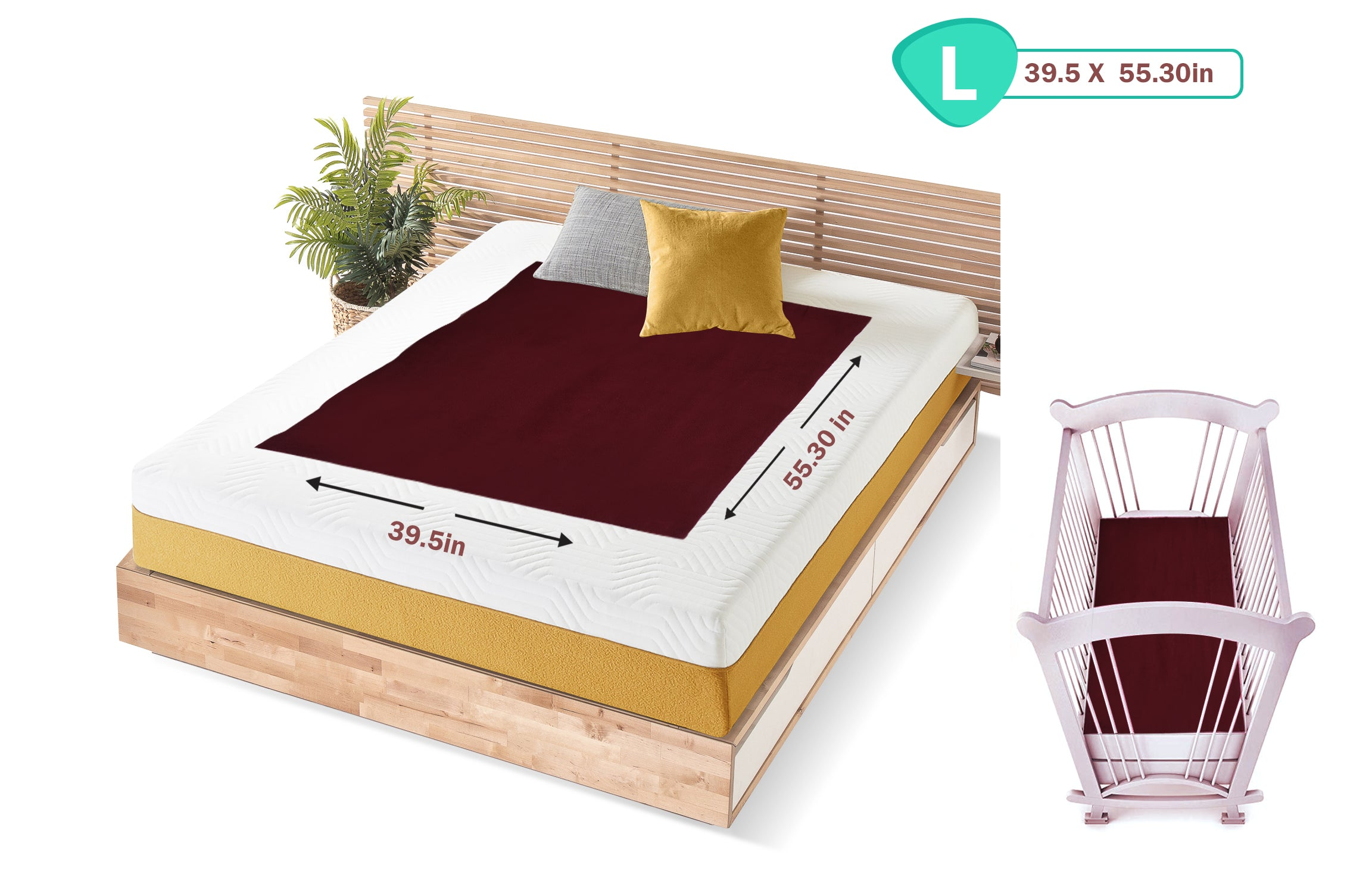 1st Step Supa - Dry Extra Absorbent Dry Sheet/Bed Protector/Mattress Protector (Maroon, Large(100 * 140 cm))