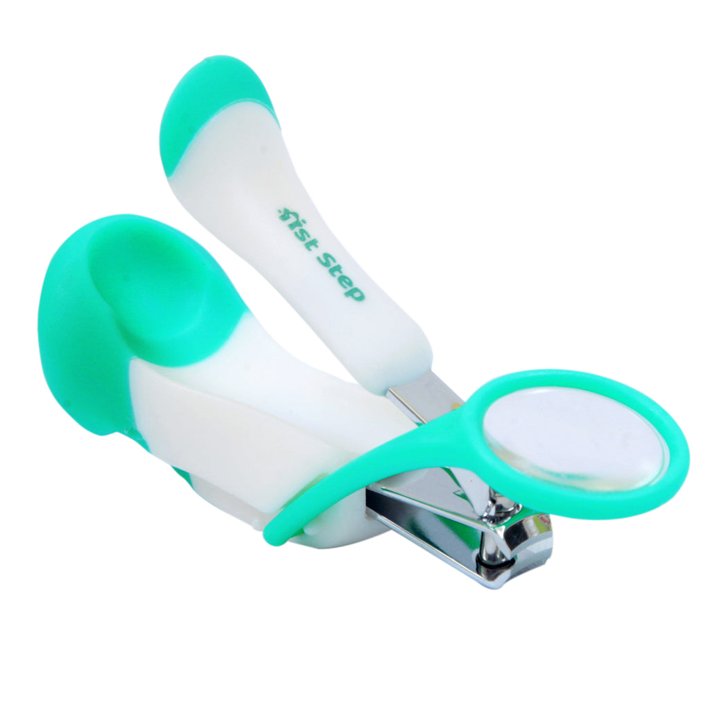 1st Step Easy Grip Baby Nail Clipper With Magnifying Glass-Mint Green