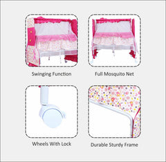 1st Step Cradle With Swing And Mosquito Net-Pink