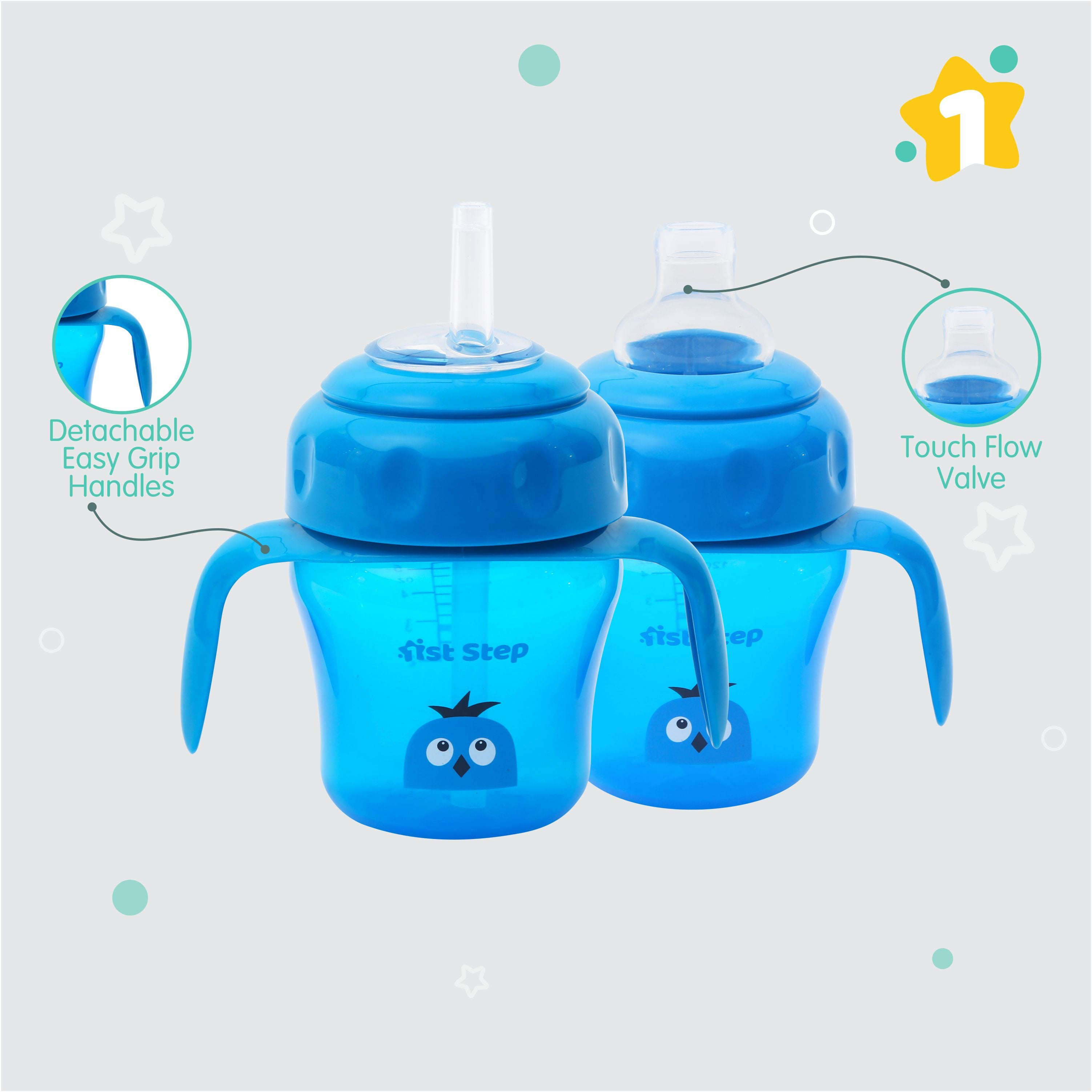 1st Step 150ml Birdie BPA Free Non-SpiII Interchangeable Sipper / Sippy Cup with Soft Silicone Spout And Straw-Blue