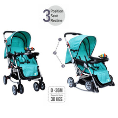 1st Step Rockstar Baby Rocking Stroller with 5 Point Safety Harness and Reversible Handlebar-Mint Green