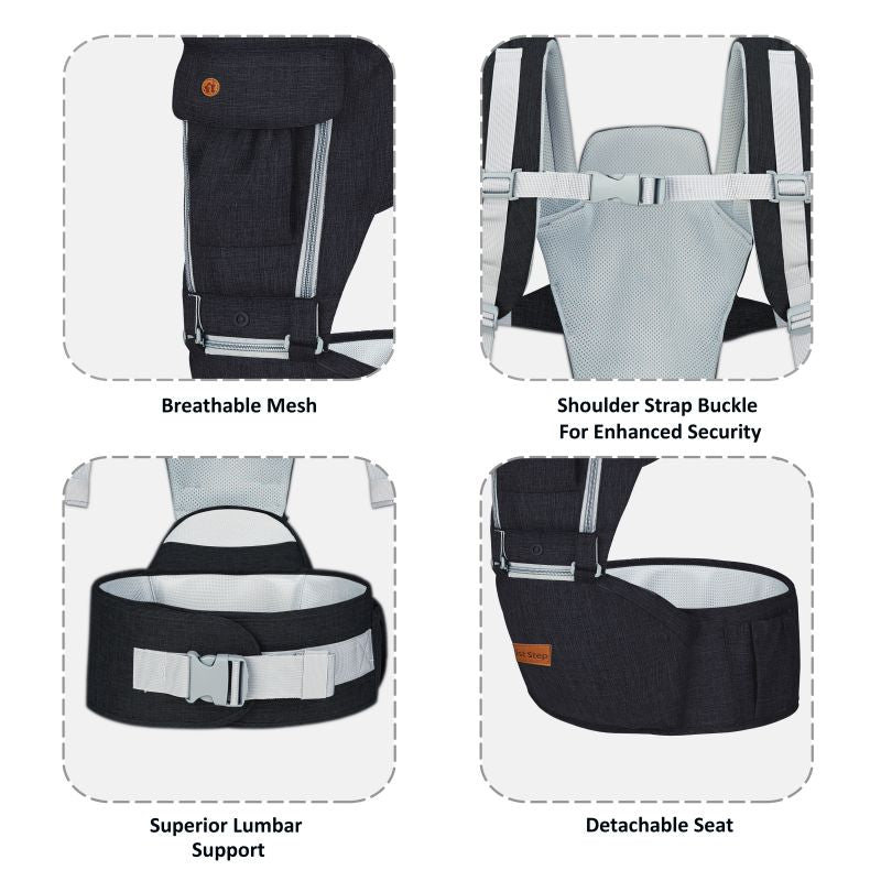 1st Step 5 In 1 Hip Seat Baby Carrier - Brown